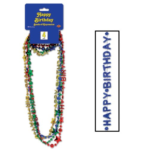 Beistle 57258-ASST 4-Pack Happy Birthday Beads-of-Expression Party Item, 36-Inch - 1