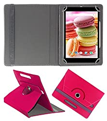 Acm Rotating 360° Leather Flip Case For Lava Ivory M4 Cover Stand Dark Pink