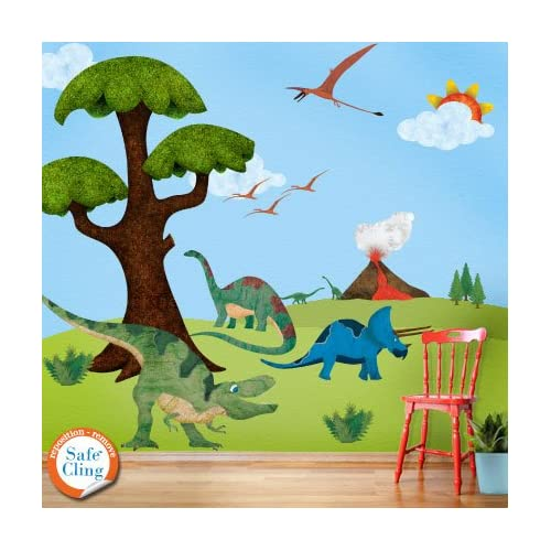 Dinosaur Wall Sticker Kit - Easy Peel & Stick - Repositionable & Removable Wall Decals