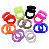 Longbeauty 9 Pair 8MM Thin Silicone Ear Skin Flexible Flesh Tunnel Expander Gauge Earlets 9 Colors at the same size
