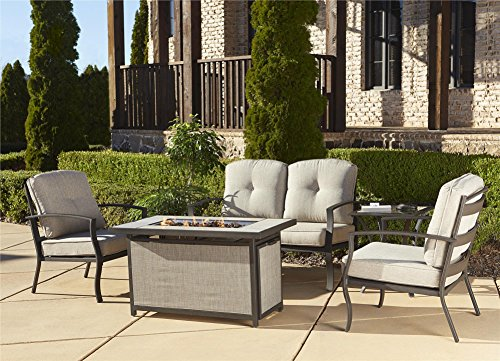 Cosco Outdoor Serene Ridge Aluminum Propane Gas Fire Pit Table With Lid Rect