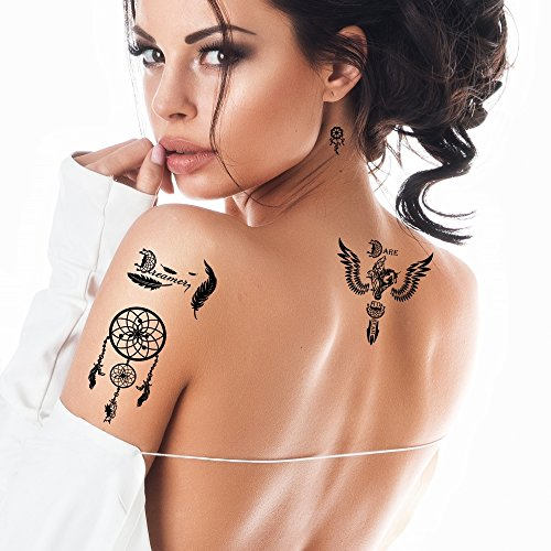Bling Art Temporary Tattoos Black Dreamcatcher Set of 8 Tattoos for Women UK - 1