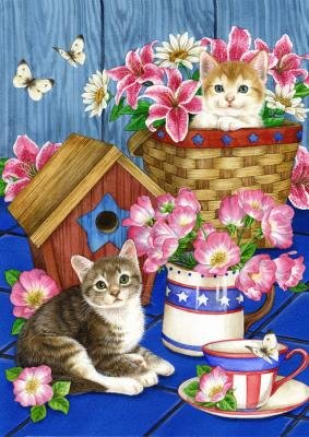 Patriotic Kittens Cat Garden Flag