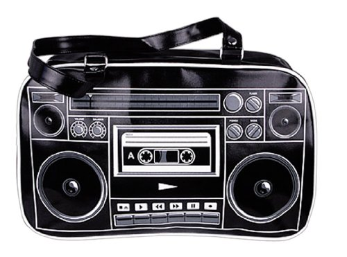1980s style Ghetto Blaster Boombox Black Boombox Bag Shoulder Print on Front and Back.
