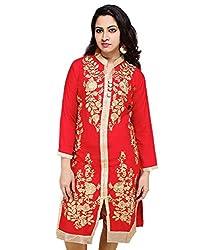 Sarva Women's Rayon Kurta (SC-0400276_Red_40)