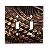 Steampunk Typewriter - Decor Double Switch Plate Cover Metal