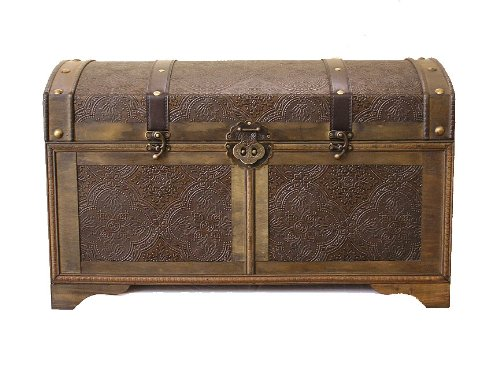 Nostalgic Medium Wood Storage Trunk Wooden Treasure Chest 0