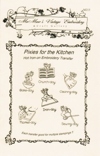 Kitchen Pixies For Tea Towels Hot Iron Embroidery Transfers