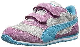 PUMA Steeple Glitz Multi V Kids Classic Sneaker (Toddler/Little Kid/Big Kid), Puma Silver/Vivid Viola/Blue Atoll,6 M US Toddler