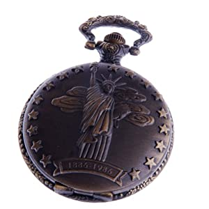 Pocket Watch with Chain Quartz Movement White Dial Arabic Numerals Full Hunter Statue-of-Liberty Design - PW-44
