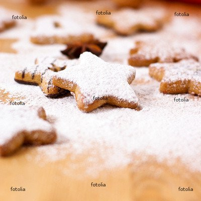 """Wallmonkeys Peel and Stick Wall Graphic - Gingerbread Cookies with Powdered Sugar - 24""""H x 24""""W"""