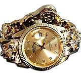 [ソリッド]solid 専用ギャランティカード付 ブレスウォッチ 腕時計 100M防水 hiphop b系 24金color ゴールドsolid-vvct43