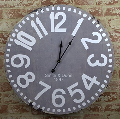 23 Large Smith & Dunn Wooden Wall Clock Gray and White 24 224