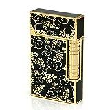 Gold Roses Flint Wheel Cigarette Butane Gas Metal Lighter (Color: Gold & Black)