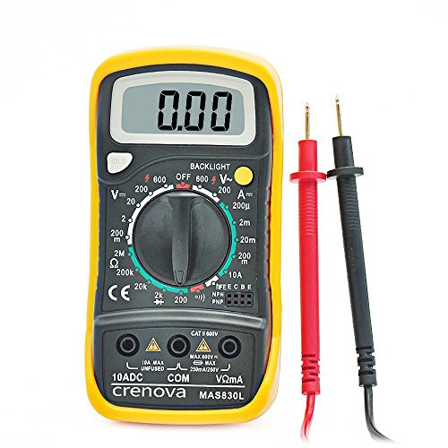 Digital Multimeter, Crenova MAS830L Multi tester AC/DC Ohmmeter Voltage Tester Detector Voltmeter Portable Tester Meter with Backlight