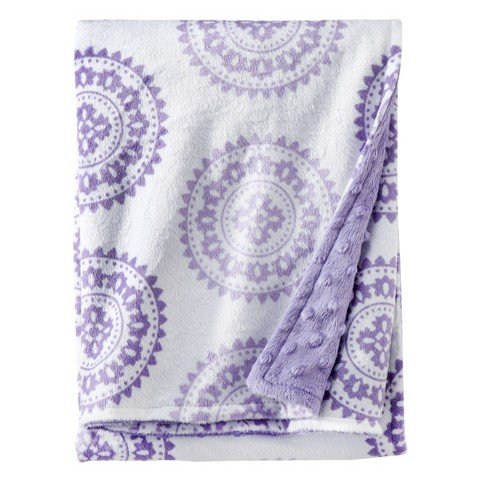 Circo Soft Valboa Popcorn Blanket - Purple Medallion - 1