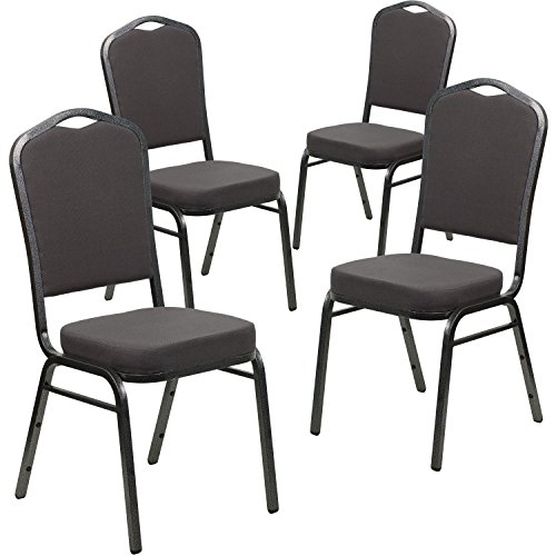 4 Pk. HERCULES Series Crown Back Stacking Banquet Chair with Gray Fabric and 2.5'' Thick Seat - Silver Vein Frame