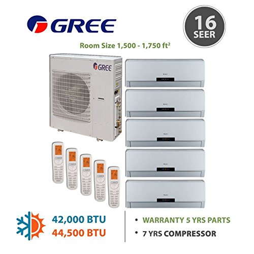 Gree +Multi Penta-Zone Mini Split Ductless Split 42,000 BTU Inverter Heat 9k 9k 9k 9k 12k (Multi Zone Gree Mini Split compare prices)