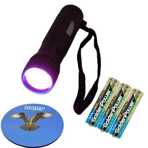 Hqrp Longwave Professional Pocket 365 Nm Uv Flashlight / Blacklight 12 Led For Leaks Checking / Urine Detection Plus 3 Pcs Batteries Plus Hqrp Coaster