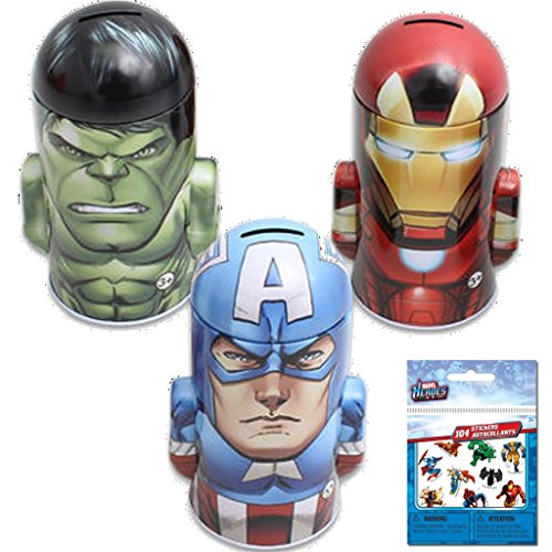 3-Pack Marvel Character Molded Saving Bank Gift Set - Featuring Iron Man, The Hulk and Captain America Plus 1 Pack of Marvel Heroes Stickers - 1