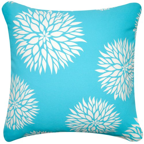 "Great Deal! Dahlia 18""x18"" Decorative Organic Cotton Throw Pillow Cover, Peacock Blue"