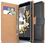 Finon(フィノン)高級ブラックレザー(レザー+PC素材)【ブラック レザー タイプ 】 指紋が付かないフィルム付【ASUS ZenFone 3 ZE520KL 5.2インチ】専用 ケース カバー カラー:ブラック