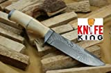 """MASSIVE SALE"" Knife King Custom Damascus Handmade Hunting Knife. With Leather Sheath. Top Quality."