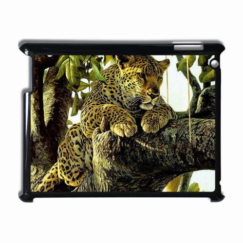 Ipad 2 3 4 Black Hardshell Case Leopard Predator Drawing Art Desin Images Protector Back Cover