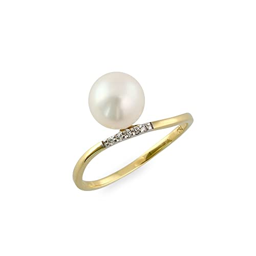 "Mikura Freshwater Pearl Classic Ring, 18ct yellow Gold, 0.03 carats of diamonds, ""A"" Quality"