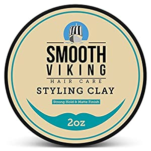 Hair Styling Clay for Men - Best Pliable Molding Cream with Strong Hold & Matte Finish - Product for Textured, Thickened & Modern Hairstyles - Shine Free - 2 OZ - Smooth Viking