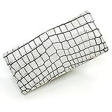 CRM1075-WHITE 白く仕上げたクロコダイル長財布「通しまち」:ホワイト