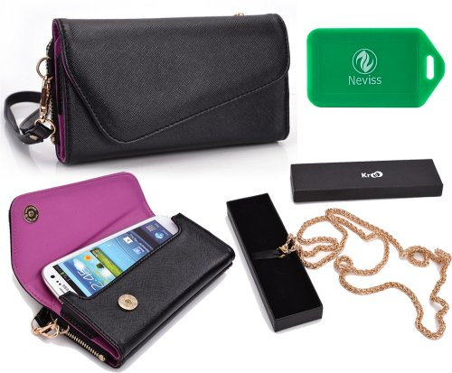 Multi Functional Wallet And Phone Holder W/ A Ccrossbody Chain- Universal Design In Black/ Orchid Purple| Universal Design Fits: Allview A5 Duo