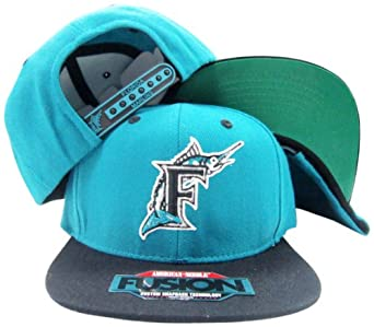 Florida Marlins Teal Black Two Tone Fusion Snap Adjustable Snapback Hat Cap by American Needle