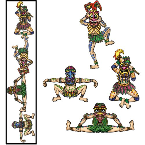 Beistle - 55964 - Tiki Man Linking Cutouts- Pack of 12