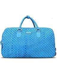 BRUNE Unisex Sky Blue Color Genuine Leather Hand Weave Strolley Bag/Designer Leather Duffle Bag/Branded Leather...