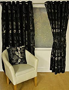 Boreal Black Floral Leaf Lined 90x72 Ring Top Eyelet Curtains #nednil *hc* by Curtains