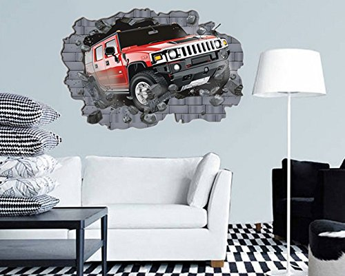 Removable 3D Wall Stickers A Car To Break Through The Wall front-983038