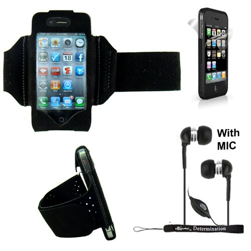 Extreme Sports Exercise Stretchy Black Armband For Apple Iphone 5S, 5C, 5, 4S, 4 Smartphones + Handsfree Earphones