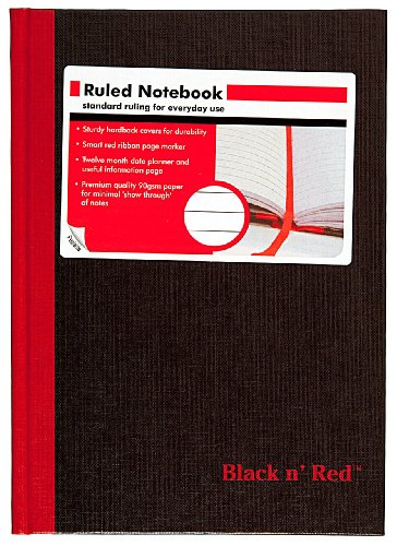 51fa5y0SV0L. SL500  Black n Red Casebound Notebook, Ruled, 8.25 x 5.875 Inches, 96 Pages (192 Sides) (E66857)