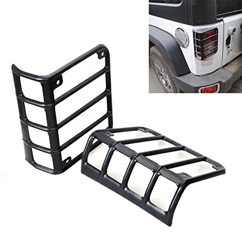 BETOOLL-Black-Rear-Euro-Tail-Light-Guard-Cover-Protector-for-2007-2016-Jeep-Wrangler-Pair