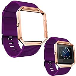 For Fitbit Blaze Accessories Band Small, EZTeck® Soft Silicone Watch Band Replacement Wrist Strap with Rose Gold Metal Frame Case for Fitbit Blaze Smart Watch Small (Silicone Small -Purple)