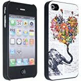 niceEshop(TM) Elephant And Colorful Heart Snap On Newspaper Hard Back Case Cover for iPhone4 4G 4S +Screen Protector