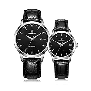 Starking Couple's AM/L184 Couple Automatic Wrist Watches with Black Leather Band