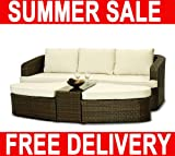BARCELONA MODULAR OUTDOOR RATTAN PATIO GARDEN FURNITURE SOFA SET + EXTRAS