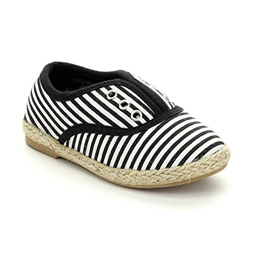 Jelly Beans Hadiya Toddler'S Little Girl Two Tone Slip On Loafer Style Flat Shoe, Color:Black, Size:5