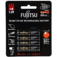4-Pack Fujitsu AAA 950mAh High Capacity Ni-MH Pre-Charged Rechargeable Batteries (Made in Japan)