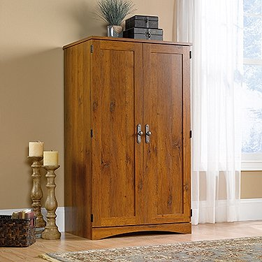 Contemporary Computer Armoire in Abbey Oak Finish