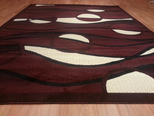 E523 Contemporary Modern Transitional Burgundy Red 5x8 Actual Size 5'3x7'2 Rug