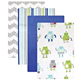 Luvable Friends Flannel Receiving Blankets, Robot, 4 Count