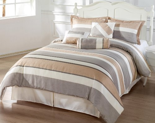 Bachelor 7Pc Comforter Set Beige, Grey, Coffee Luxury Stripe Bed-In-A-Bag King Size Bedding front-1033019